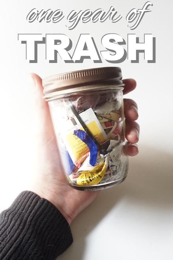 one year of trash in a mason jar