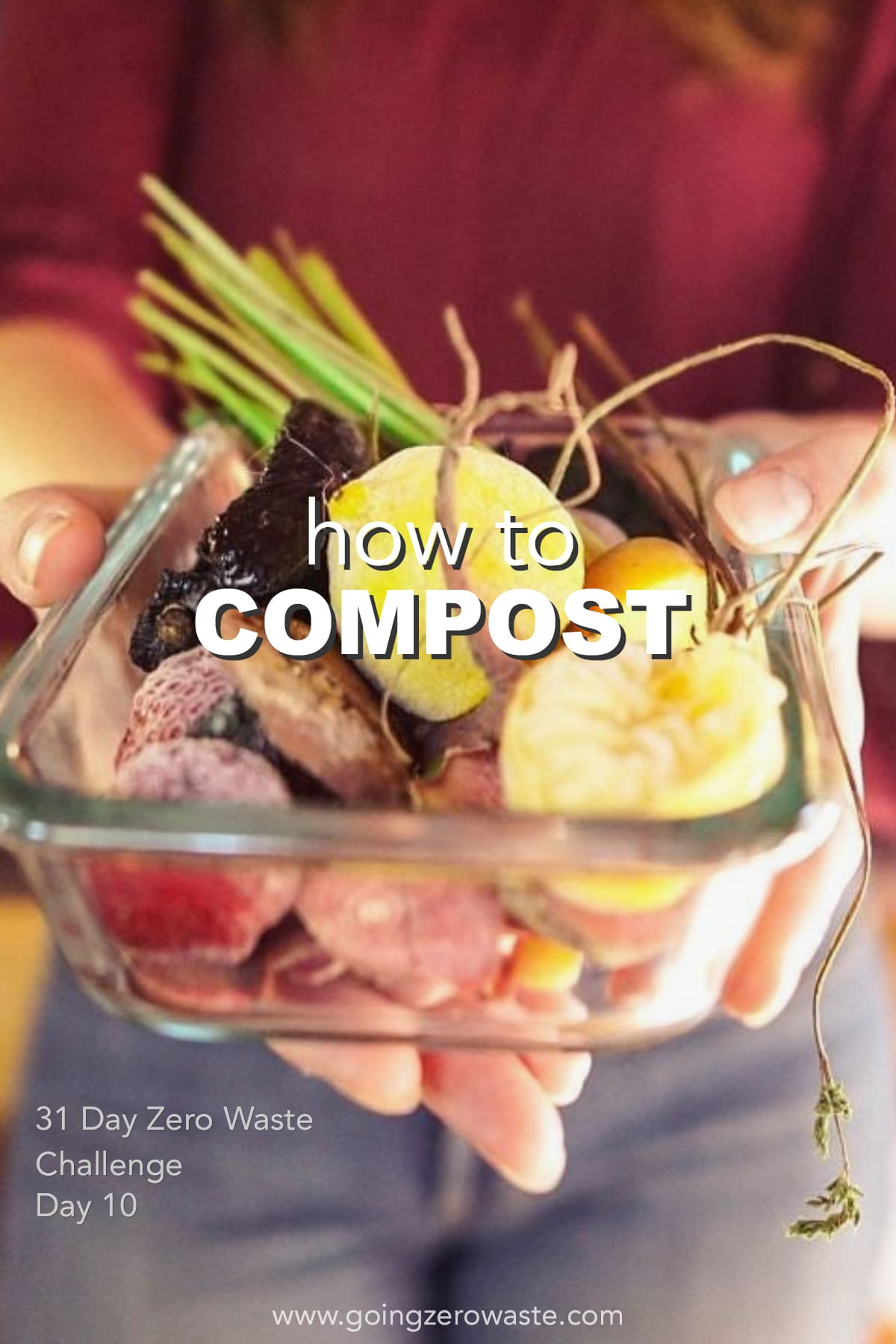 How to Compost - Day 10 of the Zero Waste Challenge from www.goingzerowaste.com #zerowaste #ecofriendly #gogreen #sustainable #zerowastechallenge #challenge #sustainablelivingchallenge #compost #composting