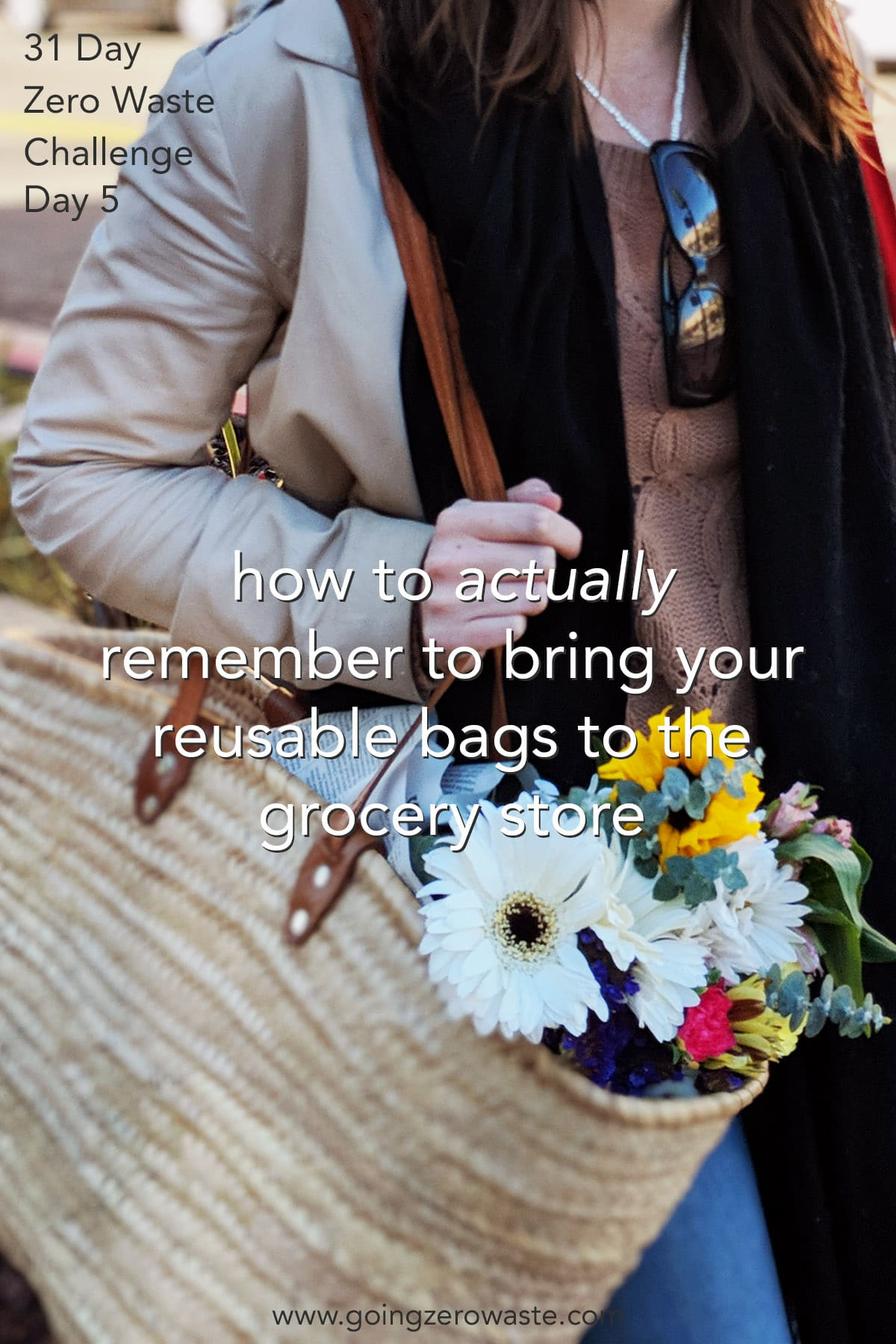 How to Actually Remember to Bring Your Reusable Bags - Day 5 of the Zero Waste Challenge from www.goingzerowaste.com #zerowaste #ecofriendly #gogreen #sustainable #zerowastechallenge #challenge #sustainablelivingchallenge