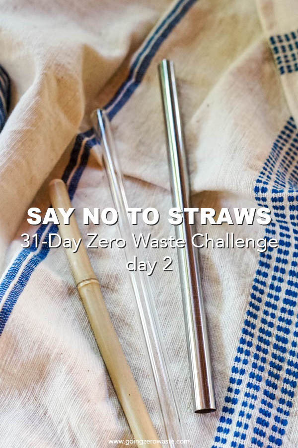 Say No To Straws - Day 2 of the Zero Waste Challenge from www.goingzerowaste.com #zerowaste #ecofriendly #gogreen #sustainable #zerowastechallenge #challenge #sustainablelivingchallenge #straws #saynotostraws