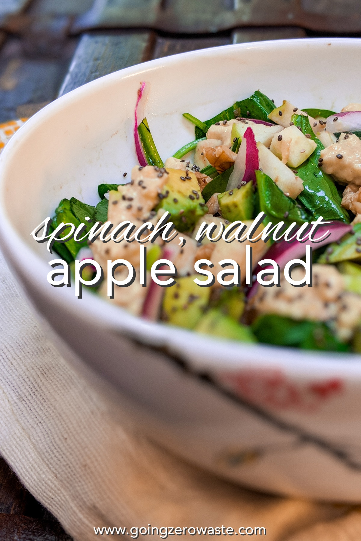 Spinach, Walnut, Apple Salad