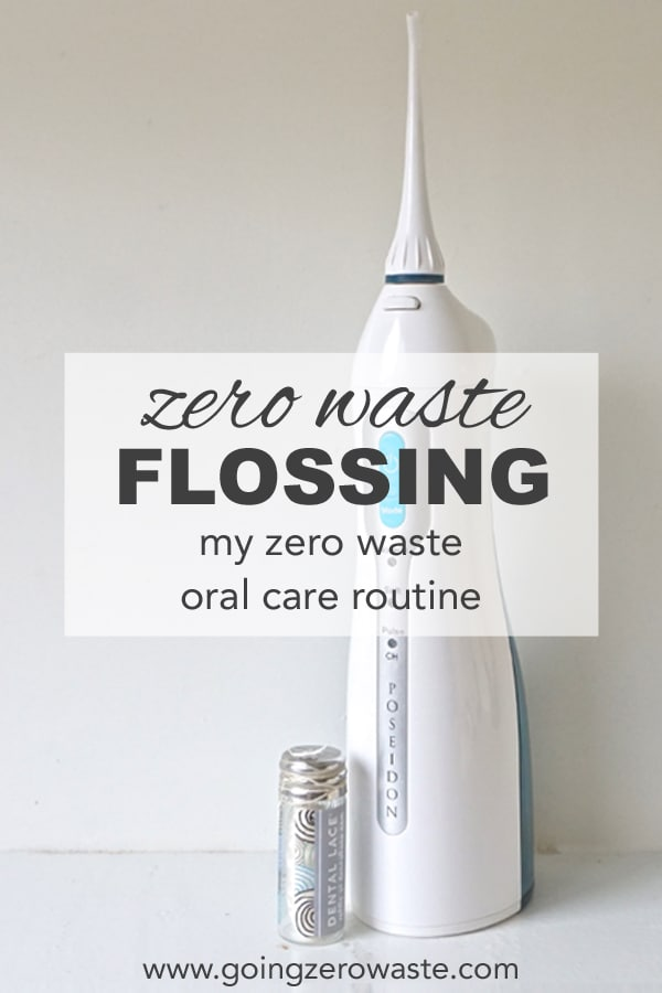 zero waste flossing | My zero waste oral care routine from www.goingzerowaste.com #zerowaste #oralcare #flossing #flossalternatives #gogreen #sustainable #ecofriendly #plasticfree