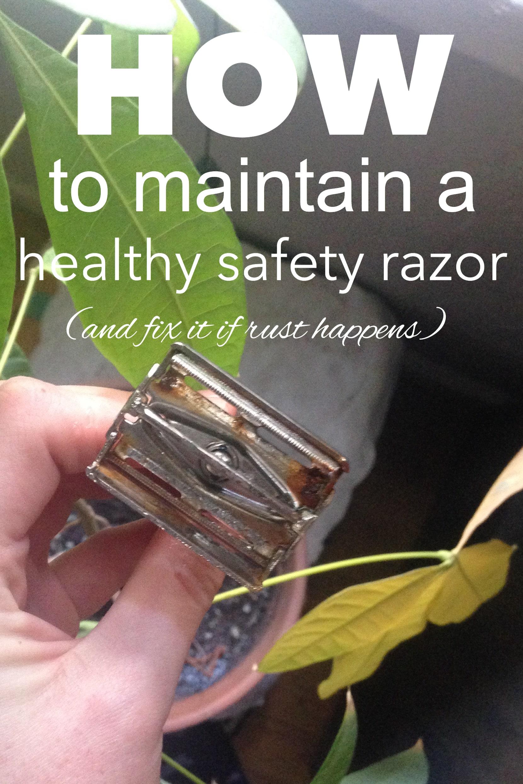 how to maintain a healthy safety razor from www.goingzerowaste.com #safetyrazor #sustainable #zerowaste #gogreen #lowwaste #shaving #razors #cleaning #DIY