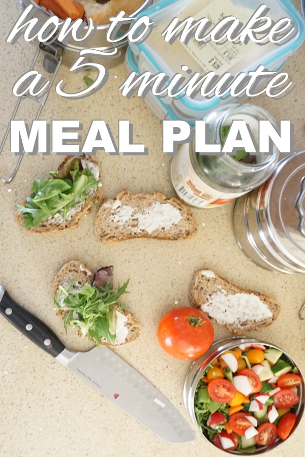 How to make a 5 minute meal plan from www.goingzerowaste.com #mealplan #zerowaste #sustainable #plantbased #simple