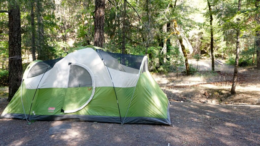 a tent pitched at a campground