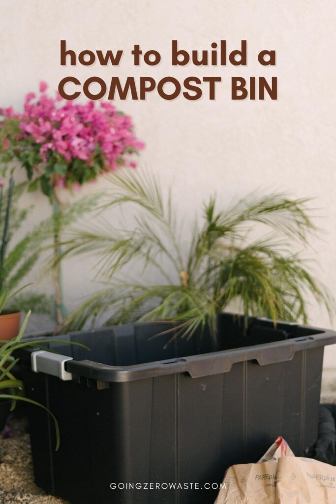 How to build a compost bin from www.goingzerowaste.com #zerowaste #compost #buildyourowncompostbin #wormbin #plastictubcompostbin #composting #DIY #vermicomposting #compostingwithworms